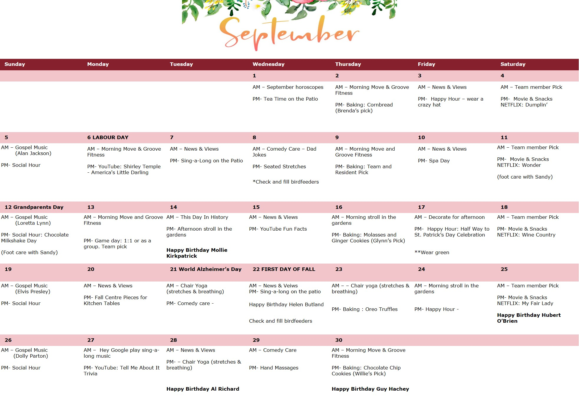 Activity Calendar for ProTem in September, 2021